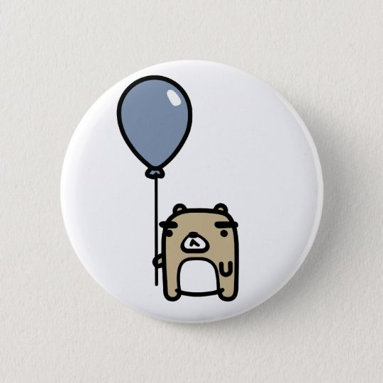 Bear With Blue Balloon 6 Cm Round Badge