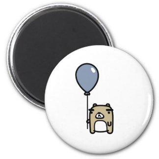 Bear With Blue Balloon 6 Cm Round Magnet