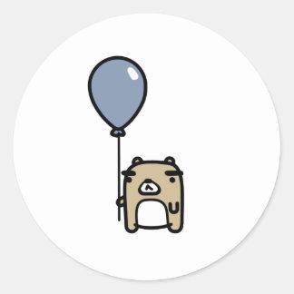 Bear With Blue Balloon Round Sticker