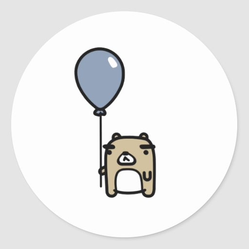 Bear With Blue Balloon Stickers