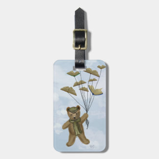 Bear with Book Butterflies 3 Bag Tag