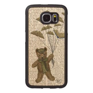 Bear with Book Butterflies Wood Phone Case