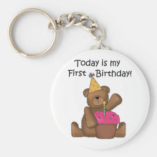 Bear with Cupcake 1st Birthday Tshirts and Gifts Key Ring