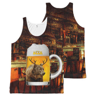 Bear With Deer Horns Beer Mug Pub Owner Cool Funny All-Over Print Tank Top