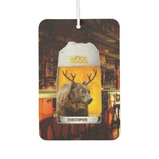 Bear With Deer Horns Beer Mug Pub Owner Cool Funny Car Air Freshener