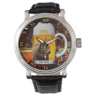 Bear With Deer Horns Beer Mug Pub Owner Cool Funny Watch