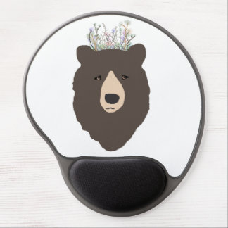 bear with flower crown gel mouse pad