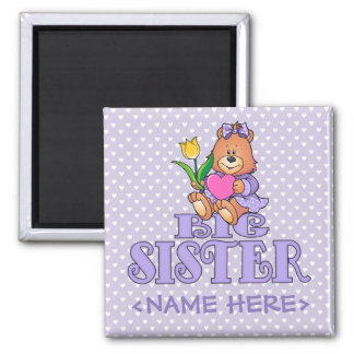 Bear with Heart Big Sister Square Magnet