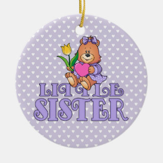 Bear with Heart Little Sister Christmas Ornament