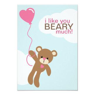 Bear with Heart Shaped Balloon Valentines 9 Cm X 13 Cm Invitation Card