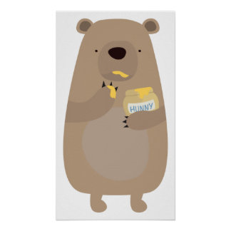 Bear with Honey jar Poster