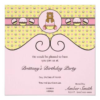 Bear With Pink Cupcake C N' S Invitation