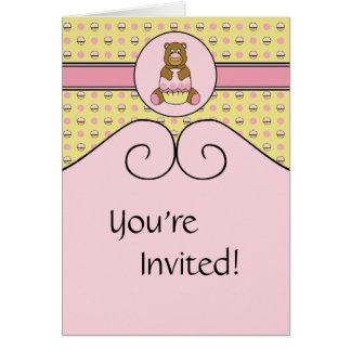 Bear With Pink Cupcake C N' S Invitation Greeting Card