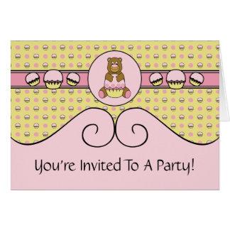 Bear With Pink Cupcake C N' S Invitation Card