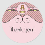 Bear With Pink Cupcake Pink Waffle Cone Sticker