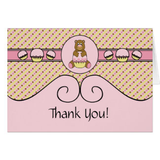 Bear With Pink Cupcake S N' D Thank You Card