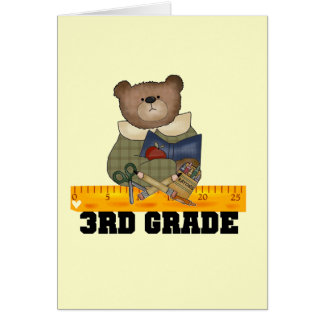 Bear With Ruler 3rd Grade Tshirts and Gifts Greeting Card