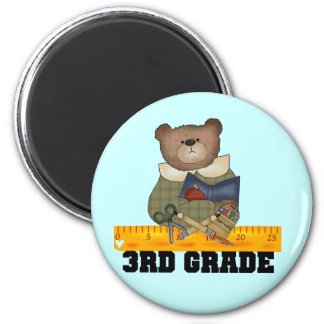 Bear With Ruler 3rd Grade Tshirts and Gifts 6 Cm Round Magnet