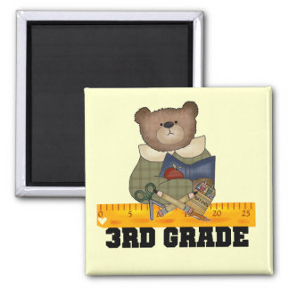 Bear With Ruler 3rd Grade Tshirts and Gifts Square Magnet