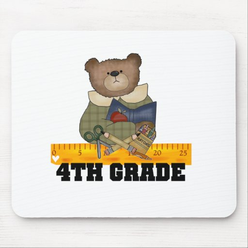 Bear with Ruler 4th Grade Mouse Pads
