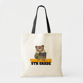 Bear with Ruler 5th Grade Tote Bags