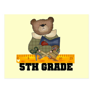 Bear with Ruler 5th Grade Tshirts and Gifts Post Card