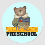 Bear with Ruler Preschool Tshirts and Gifts Round Sticker