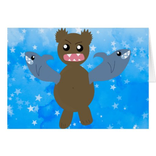 Bear With Sharks For Arms Greeting Card