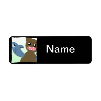 Bear With Sharks For Arms Return Address Label
