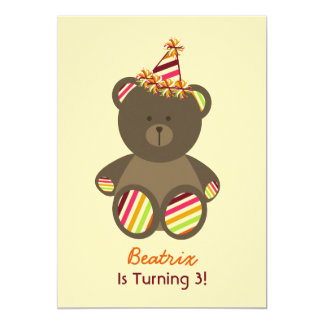 Bear With Striped Birthday Hat Girl's Party 5x7 Paper Invitation Card