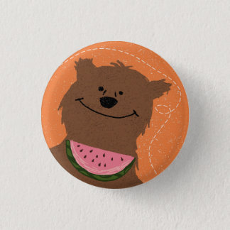 Bear with watermelon 3 cm round badge