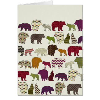 bear wolf geo party greeting card