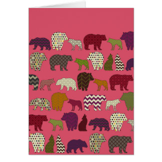 bear wolf geo party pink greeting card