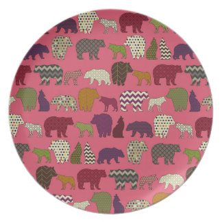 bear wolf geo party pink plate