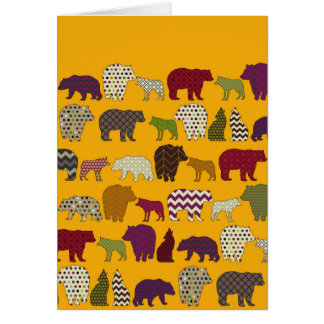 bear wolf geo party yellow greeting card