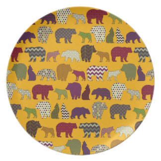 bear wolf geo party yellow plate