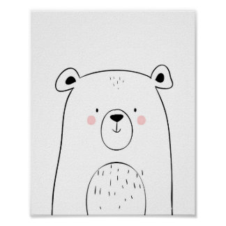 Bear Woodland Animal Nursery Wall art Monochrome