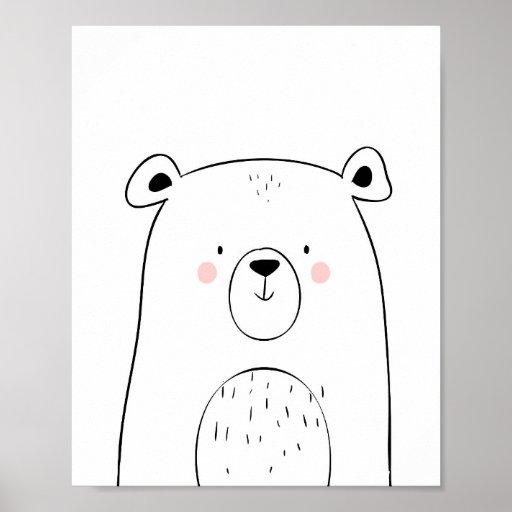 Bear Woodland Animal Nursery Wall art Monochrome