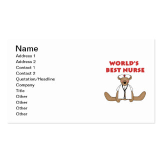Bear World's Best Nurse T-shirts and Gifts Pack Of Standard Business Cards