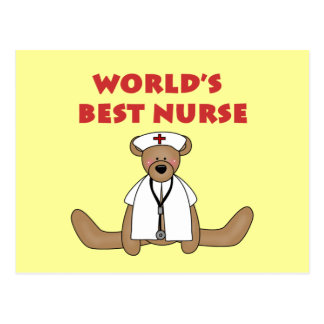 Bear World's Best Nurse T-shirts and Gifts Post Cards