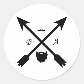 beard apparel round sticker