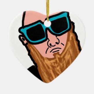 Beard Man Ceramic Heart Decoration