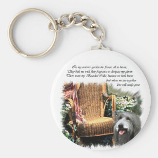 Bearded Collie Art Gifts Basic Round Button Key Ring