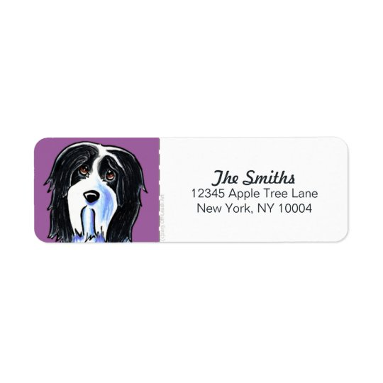 Bearded Collie Beardie Purple Block Return Address Label