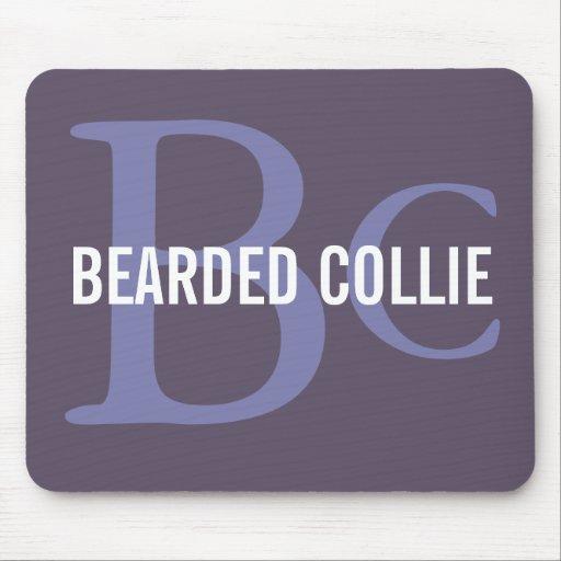 Bearded Collie Breed Monogram Design Mousepads