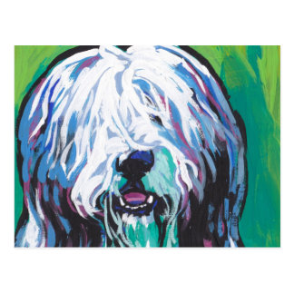 Bearded collie Bright Colorful Pop Dog Art Postcard