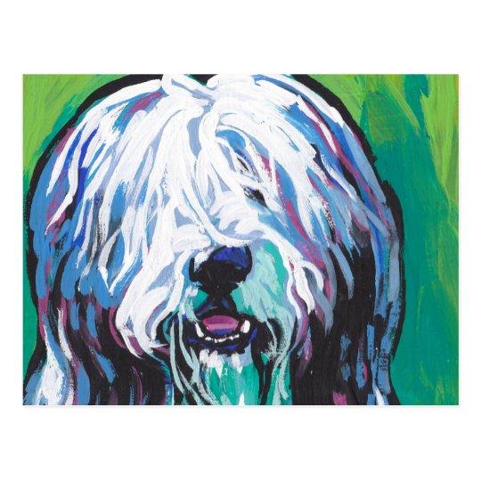 Bearded collie Bright Colourful Pop Dog Art Postcard