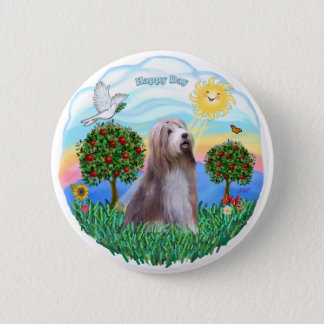 Bearded Collie (brown-white) 6 Cm Round Badge