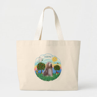 Bearded Collie (brown-white) Large Tote Bag
