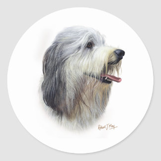 Bearded Collie Classic Round Sticker